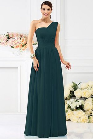 Pleated Long A-Line One Shoulder Bridesmaid Dress - 9
