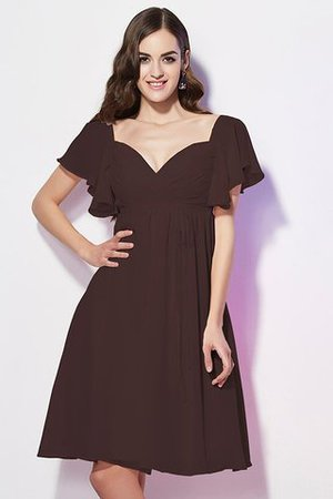 Ruffles Knee Length Short Sleeves Sweetheart Bridesmaid Dress - 6