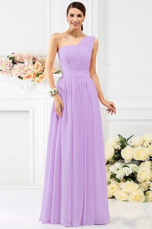 Pleated Long A-Line One Shoulder Bridesmaid Dress - 19
