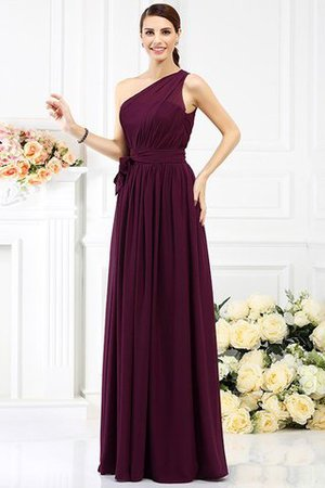 Long Sleeveless A-Line One Shoulder Bridesmaid Dress - 4