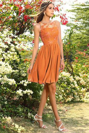 A-Line Natural Waist Sleeveless Chiffon Short Bridesmaid Dress - 20