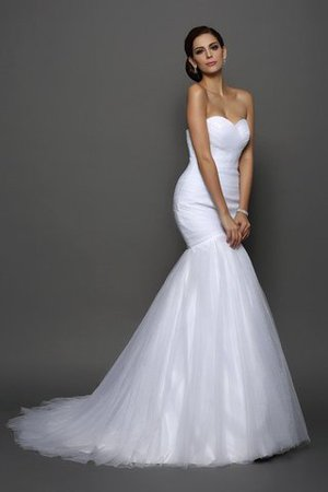 Lace-up Sleeveless Natural Waist Draped Wedding Dress - 1