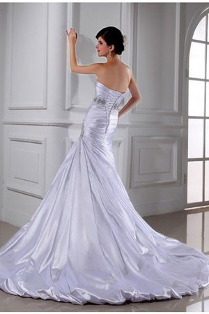 Sleeveless Empire Waist Mermaid Elastic Woven Satin Strapless Wedding Dress - 3