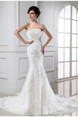 Sleeveless Mermaid Tulle Beading Zipper Up Wedding Dress - 1