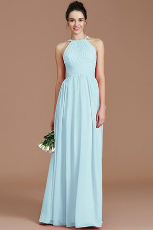 Ruched Floor Length Chiffon Natural Waist Halter Bridesmaid Dress - 21