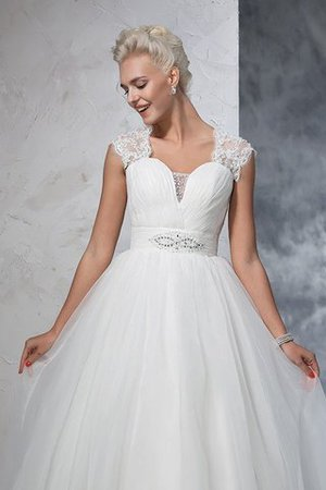 Ruched Long Empire Waist Sweep Train Ball Gown Wedding Dress - 6