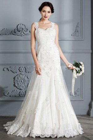 Mermaid Sweetheart Sleeveless Lace Court Train Wedding Dress - 1