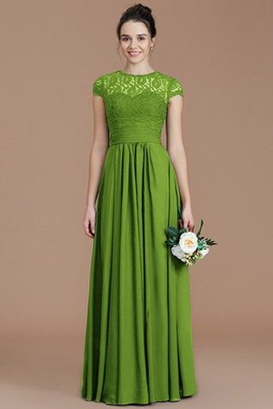 Chiffon Floor Length A-Line Jewel Short Sleeves Bridesmaid Dress - 20