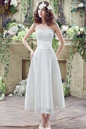 Tea Length Demure Flowers Chic & Modern Rectangle Wedding Dress - 1