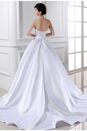Chapel Train Ball Gown Satin Zipper Up Strapless Wedding Dress - 2