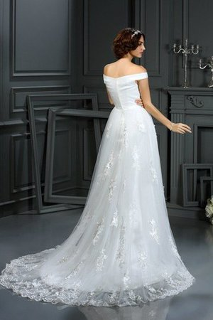 Natural Waist Long A-Line Zipper Up Off The Shoulder Wedding Dress - 2