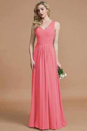 Natural Waist Floor Length A-Line V-Neck Bridesmaid Dress - 33