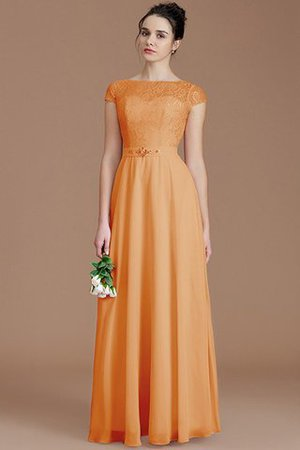 Floor Length Lace Chiffon Natural Waist Zipper Up Bridesmaid Dress - 25