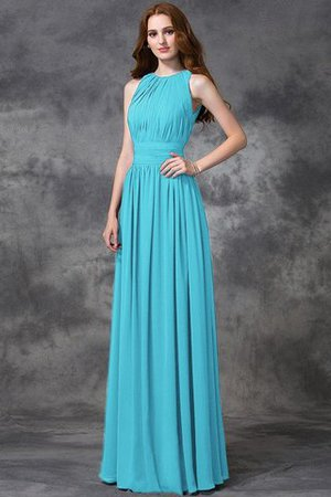 Sleeveless Ruched Natural Waist Chiffon Long Bridesmaid Dress - 2