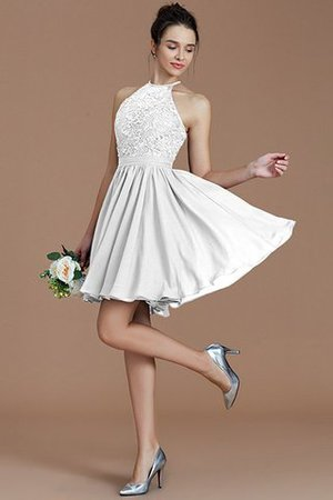 A-Line Short Halter Natural Waist Bridesmaid Dress - 35