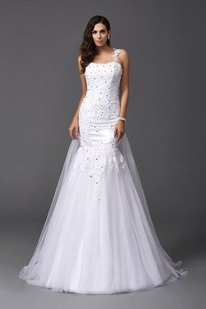 Wide Straps Long Sweep Train Natural Waist Wedding Dress - 4
