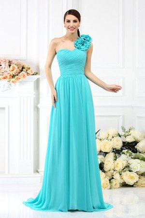 Chiffon A-Line One Shoulder Long Flowers Bridesmaid Dress - 1