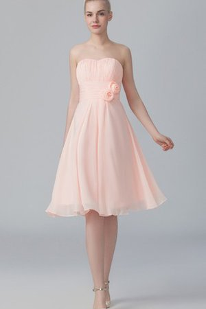 A-Line Short Pleated Flowers Sweetheart Bridesmaid Dress - 1