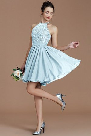 A-Line Short Halter Natural Waist Bridesmaid Dress - 24