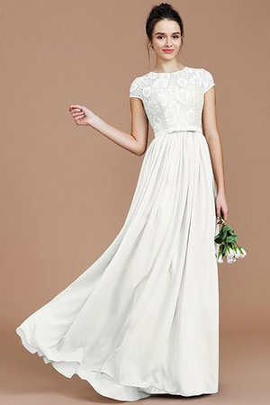 A-Line Jewel Lace Short Sleeves Bridesmaid Dress - 22
