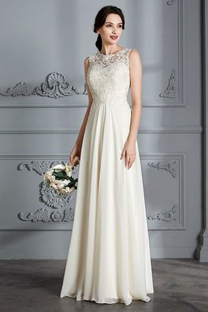Floor Length Sleeveless Natural Waist Chiffon A-Line Wedding Dress - 2