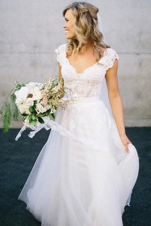 A-Line Lace Natural Waist Sleeveless Wedding Dress - 1