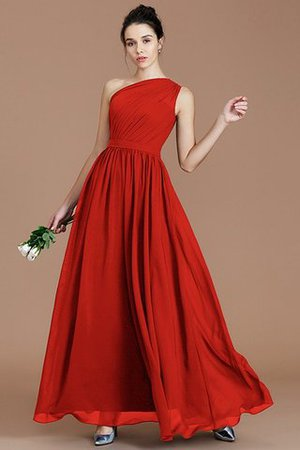 Floor Length Natural Waist Chiffon Ruched One Shoulder Bridesmaid Dress - 28