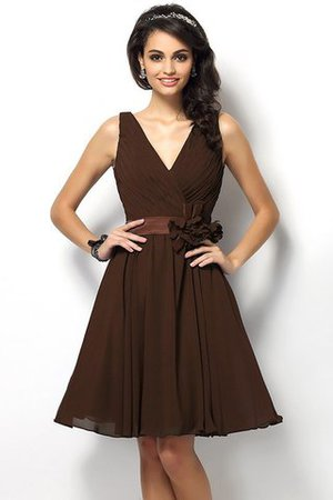 Draped A-Line V-Neck Natural Waist Bridesmaid Dress - 7