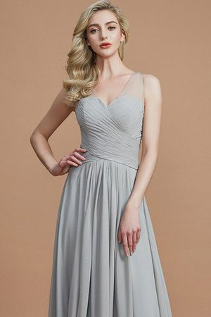 Natural Waist Floor Length A-Line V-Neck Bridesmaid Dress - 2