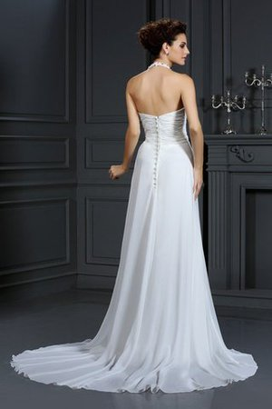Chiffon Halter Court Train A-Line Beading Wedding Dress - 2