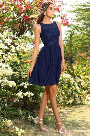 A-Line Natural Waist Sleeveless Chiffon Short Bridesmaid Dress - 10