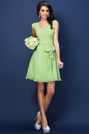 Zipper Up A-Line V-Neck Short Bridesmaid Dress - 26