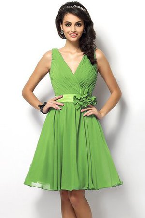 Draped A-Line V-Neck Natural Waist Bridesmaid Dress - 14