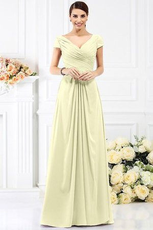 Long Empire Waist Pleated A-Line Short Sleeves Bridesmaid Dress - 8