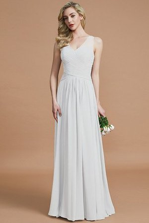 Natural Waist Floor Length A-Line V-Neck Bridesmaid Dress - 34