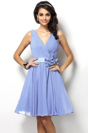 Draped A-Line V-Neck Natural Waist Bridesmaid Dress - 17