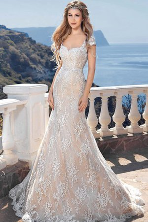 Mermaid Elegant & Luxurious Keyhole Back Short Sleeves Sweep Train Wedding Dress - 1