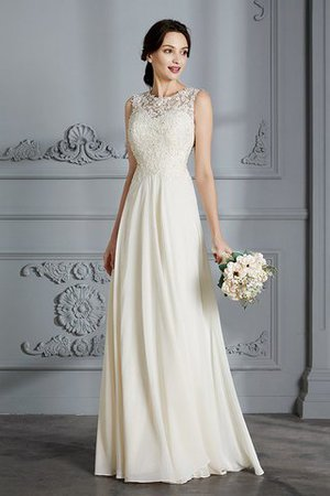 Floor Length Sleeveless Natural Waist Chiffon A-Line Wedding Dress - 5