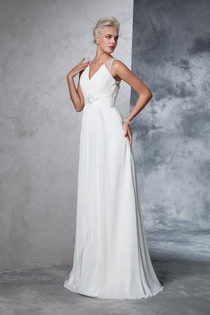 Chiffon Empire Waist Long Sweep Train A-Line Wedding Dress - 5