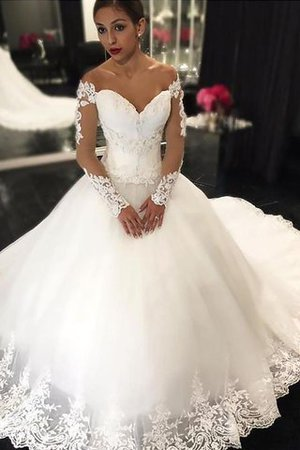 Off The Shoulder Tulle Court Train Ball Gown Appliques Wedding Dress - 1