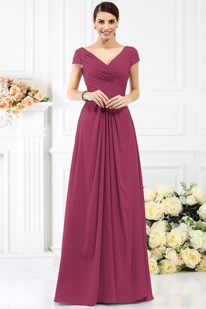 Long Empire Waist Pleated A-Line Short Sleeves Bridesmaid Dress - 5