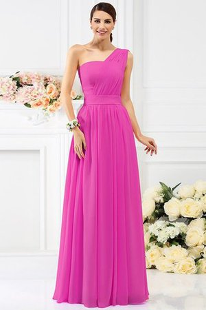 Pleated Long A-Line One Shoulder Bridesmaid Dress - 11
