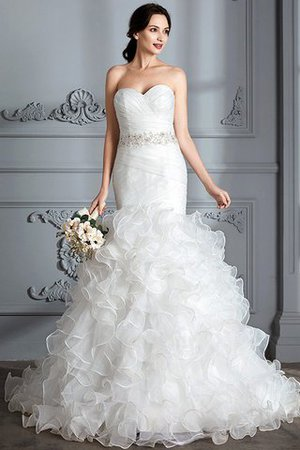 Sweetheart Ruffles Mermaid Sleeveless Sweep Train Wedding Dress - 2