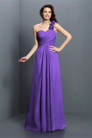 Zipper Up One Shoulder Chiffon A-Line Bridesmaid Dress - 24
