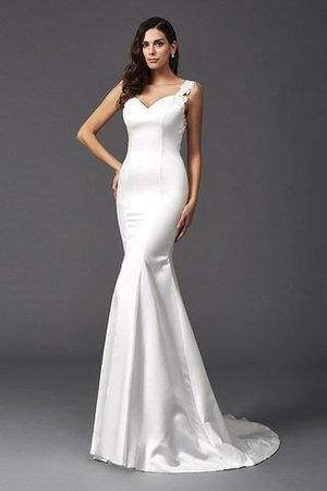 Mermaid Satin Wide Straps Sweep Train Natural Waist Wedding Dress - 6
