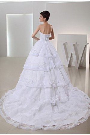 Organza Long Empire Waist Sleeveless Chapel Train Wedding Dress - 2