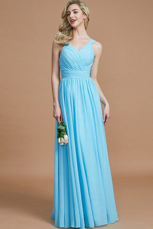 Sleeveless Natural Waist A-Line V-Neck Bridesmaid Dress - 7