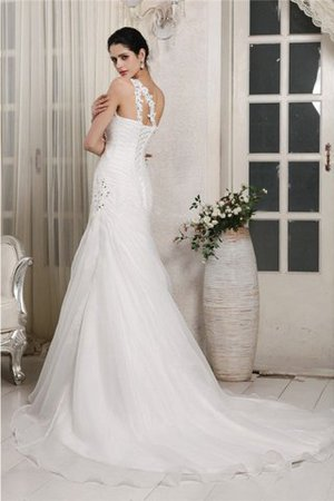 One Shoulder Chapel Train Lace-up Long Organza Wedding Dress - 2