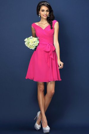 Zipper Up A-Line V-Neck Short Bridesmaid Dress - 11