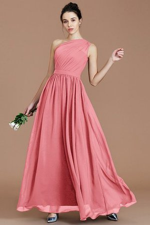 Floor Length Natural Waist Chiffon Ruched One Shoulder Bridesmaid Dress - 31